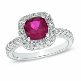 7.0mm Cushion-Cut Lab-Created Ruby and White Sapphire Frame Ring in Sterling Silver - Size 7