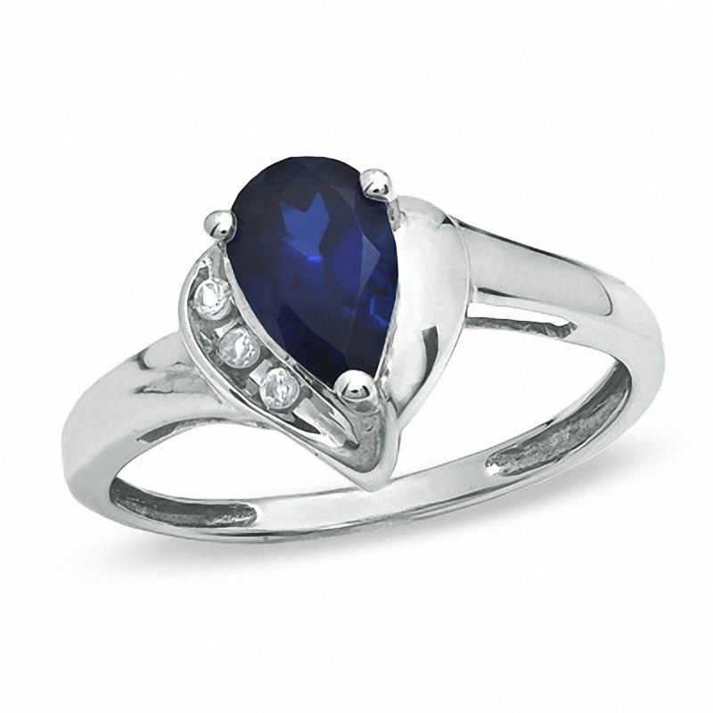 Pear-Shaped Lab-Created Blue and White Sapphire Ring in 10K