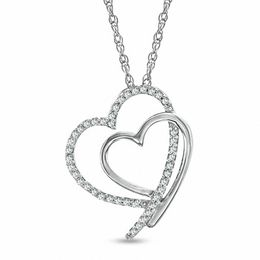 1/8 CT. T.W. Diamond Shadowed Heart Pendant in Sterling Silver