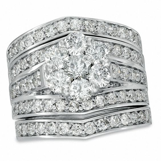234 CT TW Diamond Cluster MultiRow Three Piece Bridal Set in