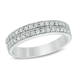 1/4 CT. T.W. Diamond Double Row Wedding Band in 10K White Gold