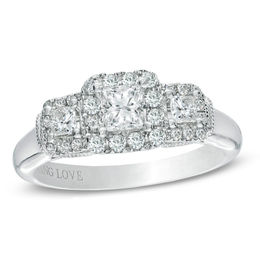 Vera Wang Love Collection 1 CT. T.W. Princess-Cut Diamond Three Stone Engagement Ring in 14K White Gold