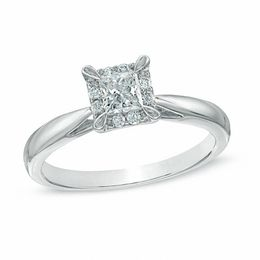 3/8 CT. T.W. Princess-Cut Diamond Frame Engagement Ring in 14K White Gold