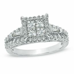 1-1/5 CT. T.W. Quad Princess-Cut Diamond Engagement Ring in 14K White Gold