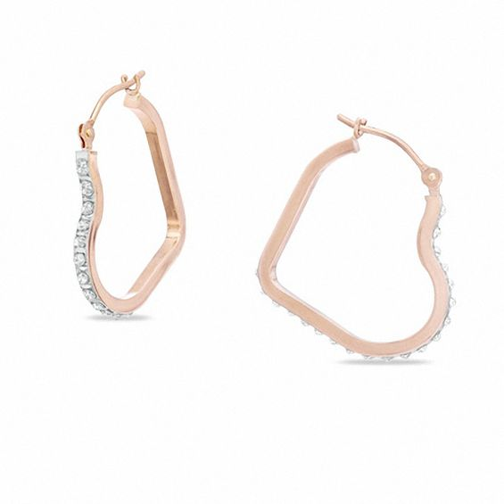 Diamond Fascination Heart Shaped Hoop Earrings In 14k Rose Gold