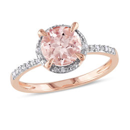 7.0mm Morganite and Diamond Accent Engagement Ring in 10K Rose Gold