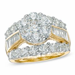 4 CT. T.W. Diamond Cluster Engagement Ring in 14K Gold