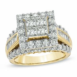 3 CT. T.W. Quad Princess-Cut Diamond Frame Ring in 14K Gold