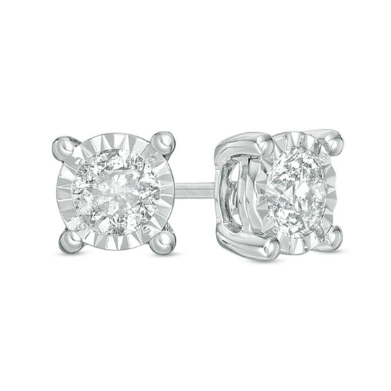 1 2 Ct T W Diamond Solitaire Stud Earrings In 10k White Gold