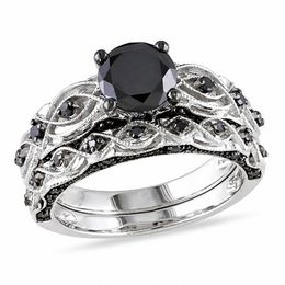 1-3/8 CT. T.W. Enhanced Black Diamond Vintage-Style Bridal Set in 10K White Gold
