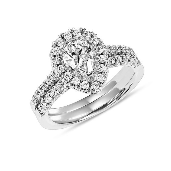 7 8 CT T W Pear Shaped Diamond Frame Bridal Set in 14K White Gold Pear