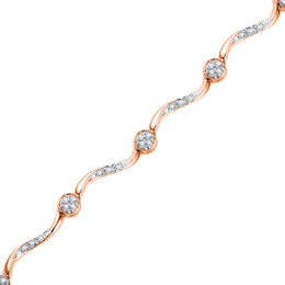1/4 CT. T.W. Diamond Cluster Station Bracelet in 10K Rose Gold