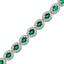 Oval Lab-Created Emerald and Diamond Accent Frame Bracelet in Sterling Silver - 7.5""
