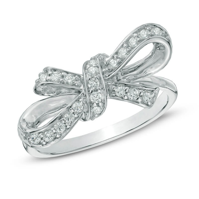 1/4 CT. T.W. Diamond Bow Ring in Sterling Silver|Gordon's Jewelers