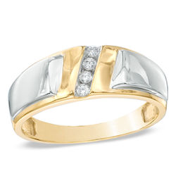 Men's Diamond Accent Slant Wedding Band in 10K Two-Tone Gold