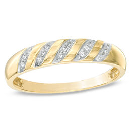 Men's 1/10 CT. T.W. Diamond Slant Wedding Band in 10K Gold