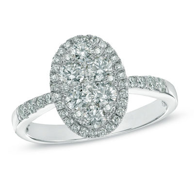 fc68960cb4e5 1 CT. T.W. Composite Oval Diamond Frame Engagement Ring in 14K White ...