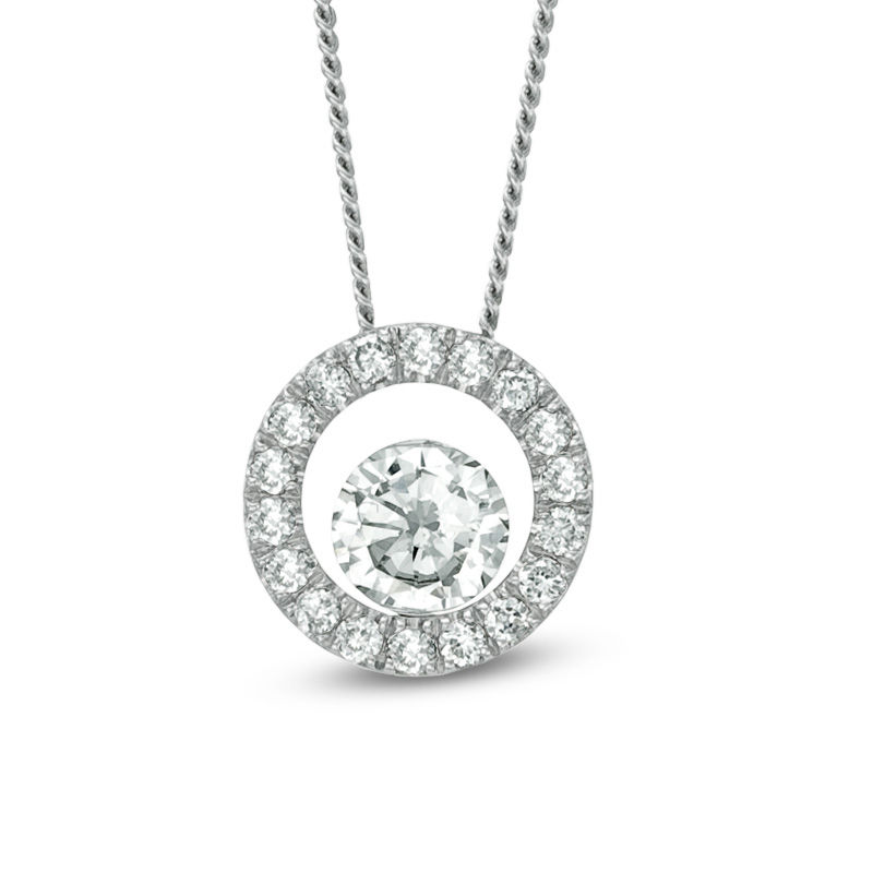 f24994016419f 1/4 CT. T.W. Certified Canadian Diamond Circle Pendant in 14K White ...