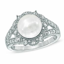 8.0 - 8.5mm Cultured Freshwater Pearl and Lab-Created White Sapphire Vintage-Style Ring in Sterling Silver