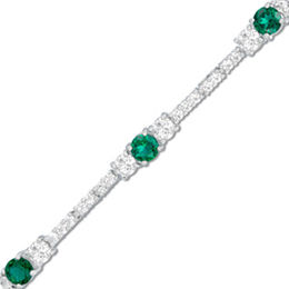 Lab-Created Emerald and White Topaz Bracelet in Sterling Silver - 7.25""