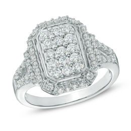 1 CT. T.W. Diamond Rectangular Cluster Ring in 10K White Gold