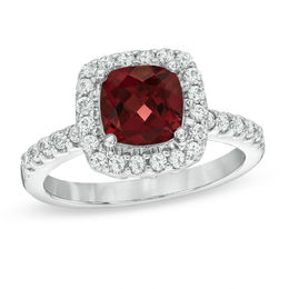 7.0mm Cushion-Cut Garnet and Lab-Created White Sapphire Frame Ring in Sterling Silver - Size 7