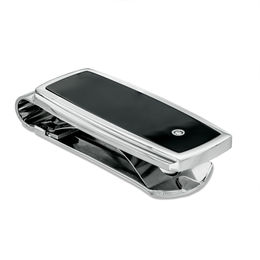 Men's Diamond Accent Black Enameled Money Clip in Stainless Steel