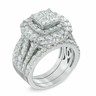Gordons Credit Card >> 5 CT. T.W. Quad Princess-Cut Diamond Double Frame Bridal Set in 14K White Gold | View All Rings ...
