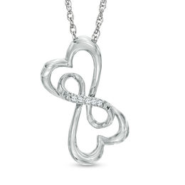 Diamond Accent Double Loop Heart Pendant in Sterling Silver