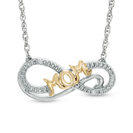 "Diamond Accent ""MOM"" Infinity Necklace in Sterling Silver and 14K Gold Plate"