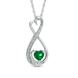 "5.0mm Heart-Shaped Lab-Created Emerald and Diamond Accent Infinity Heart ""MOM"" Pendant in Sterling Silver"