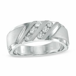 Men's 3/8 CT. T.W. Diamond Slant Ring in 10K White Gold