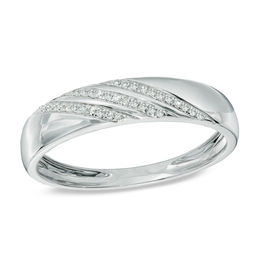 Men's Diamond Accent Slant Striped Wedding Band in 10K White Gold