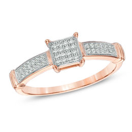 1/6 CT. T.W. Diamond Square Cluster Promise Ring in 10K Rose Gold