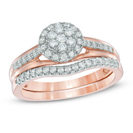 1/2 CT. T.W. Diamond Cluster Frame Bridal Set in 10K Rose Gold