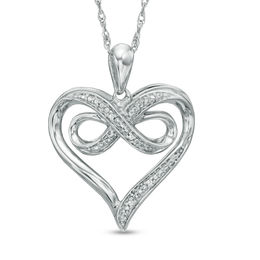 Diamond Accent Beaded Heart with Infinity Pendant in Sterling Silver
