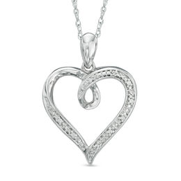 Diamond Accent Looping Heart Pendant in Sterling Silver