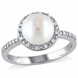 8.0 - 8.5mm Cultured Freshwater Pearl and 1/10 CT. T.W. Diamond Frame Ring in Sterling Silver