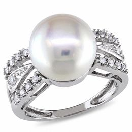 10.0 - 10.5mm Cultured Freshwater Pearl and 1/8 CT. T.W. Diamond Ring in 14K White Gold