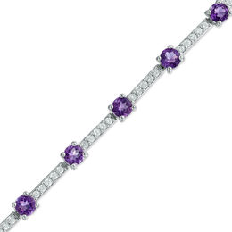 4.0mm Amethyst and Lab-Created White Sapphire Bracelet in Sterling Silver - 7.25""