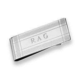 Men's Engravable Plaid Money Clip in Sterling Silver (3 Initials)