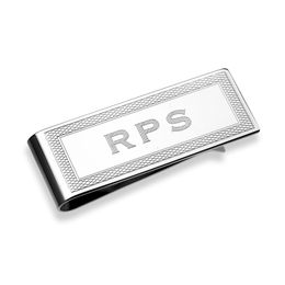 Men's Engraved Money Clip in Sterling Silver (1-4 Initials)