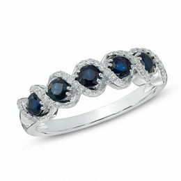 Blue Sapphire and 1/10 CT. T.W. Diamond Frame Five Stone Ring in 10K White Gold