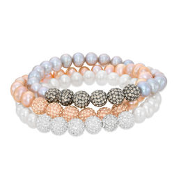 6.0 - 7.0mm Peach, Grey and White Cultured Freshwater Pearl Stretch Bracelet Set - 7.25""