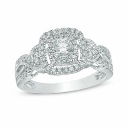 1/2 CT. T.W. Diamond Frame Vintage-Style Engagement Ring in 10K White Gold