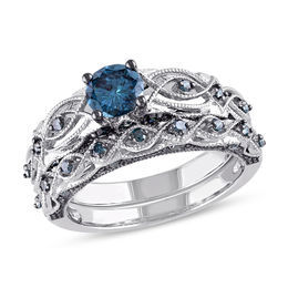 1 CT. T.W. Enhanced Blue Diamond Vintage-Style Bridal Set in 10K White Gold