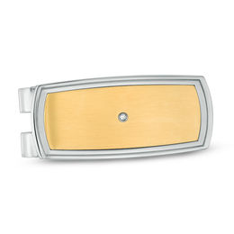 Men's Diamond Accent Money Clip in Two-Tone Stainless Steel