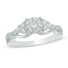 1/2 CT. T.W. Composite Diamond Tri-Sides Engagement Ring in 10K White Gold