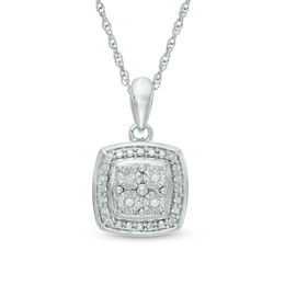Quad Diamond Accent Square Frame Pendant in Sterling Silver
