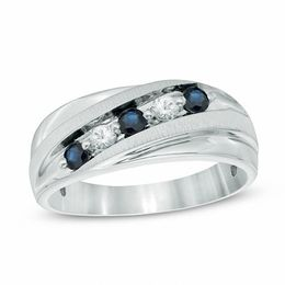 Men's Lab-Created Blue and White Sapphire Five Stone Slant Band in Sterling Silver - Size 10